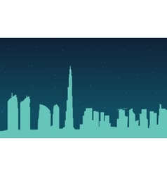 Silhouette of dubai city at night vector
