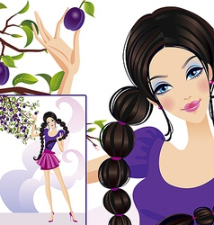 Woman lifestyle plums vector