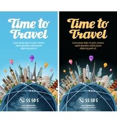 Trip to world travel landmarks on the globe vector