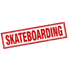 skateboarding red square grunge stamp on white vector image