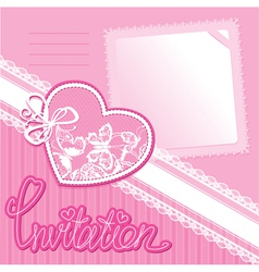 Heart and piece of paper on a pink background vector