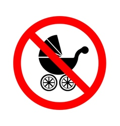 No baby carriage sign on white background vector
