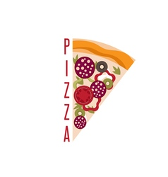 Slice of classical italian pizza design template vector