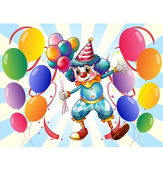 A group of balloons with a circus clown vector image vector image