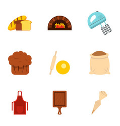 baked products icons set flat style vector image