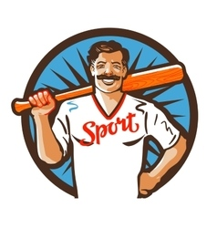 baseball logo sport or player icon vector image