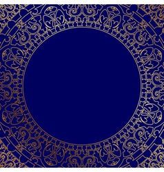 blue frame with gold ornament vector image