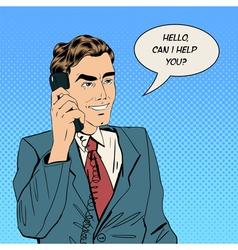 Businessman speaking on the phone at office vector