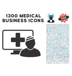 computer patient icon with 1300 medical business vector image vector image