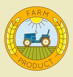 Farm tractor emblem logo - natural farm product vector