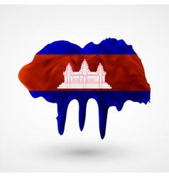 Flag of cambodia painted colors vector