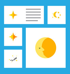Flat icon midnight set of night asterisk bedtime vector
