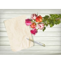 Fresh roses on wooden background eps 10 vector
