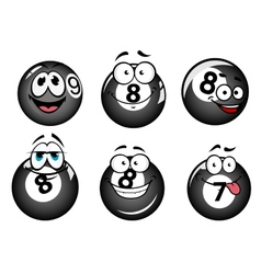 Funny smiling pool and billiard balls vector