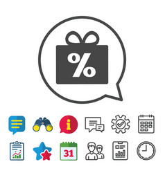 Gift box sign discount icon present symbol vector
