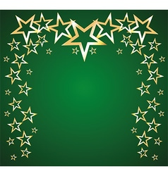 Gold stars on a green background vector image vector image