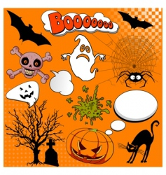 Halloween comic elements vector image vector image