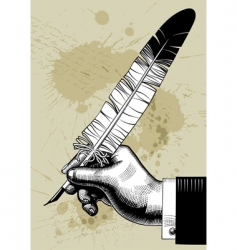hand with feather vector image vector image