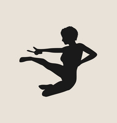 Karate martial art silhouette of woman with sword vector