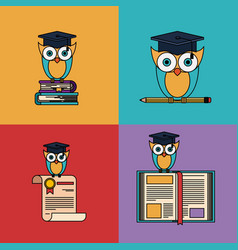 multicolored set background with owl with school vector image