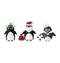 Penguin sailor santa animal character vector