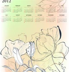 romantic background with calendar for 2012 vector image vector image