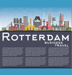 Rotterdam netherlands city skyline with gray vector