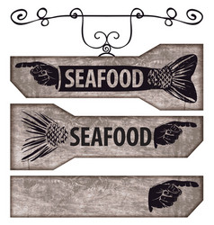 set of pointers with human hand and fish tail vector image vector image