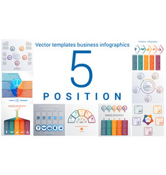 Templates business infographics 5 positions vector