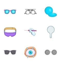Treatment vision icons set cartoon style vector
