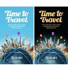 Trip to world travel landmarks on the globe vector