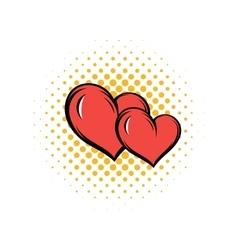 Two hearts comics icon vector image