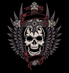 Winged skull with cross vector