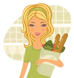 Woman holding food vector image vector image