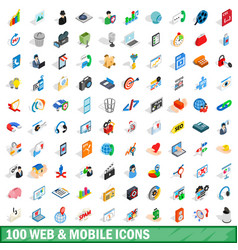 100 web and mobile icons set isometric 3d style vector image vector image