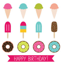 Ice cream and donuts set vector