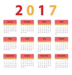 Simple calendar for 2017 vector