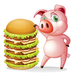 A fat pig beside the giant hamburger vector image