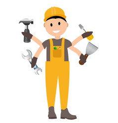Construction worker flat character building man vector