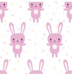 Cute seamless pattern with cartoon bunny cartoon vector