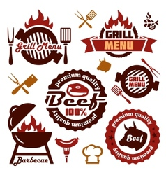 grill menu design elements set vector image