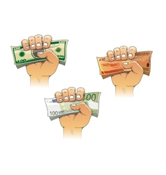Hand grasping money with dollar euro and pound vector