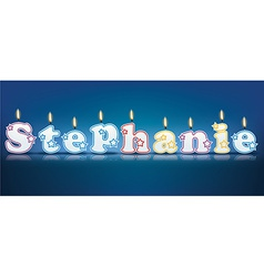 Stephanie written with burning candles vector