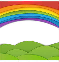 Rainbow background with green field paper vector