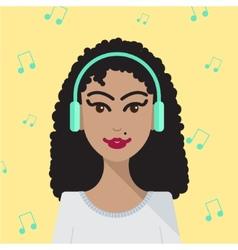 Woman listening to music vector
