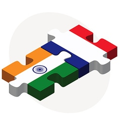 India and france flags in puzzle vector