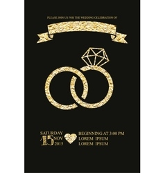 Wedding invitations with gold glitter texture ring vector