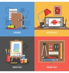 Drawing tools icon set vector