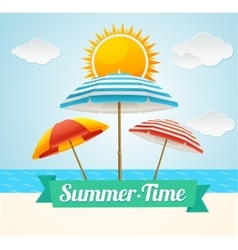 Beach umbrella summer card vector