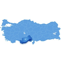 Map of turkey mersin vector
